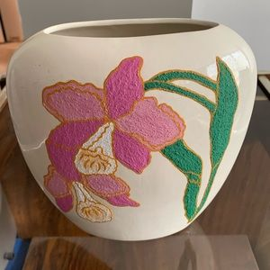 Hand painted Floral Oval Vase